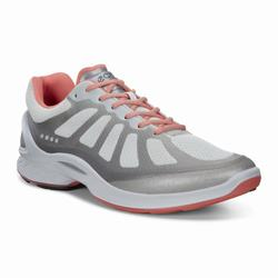 Womens ECCO BIOM Fjuel Racer Sneakers Shoes Silver / Coral / White / Metallic Size ( US 4/4.5-12/12.